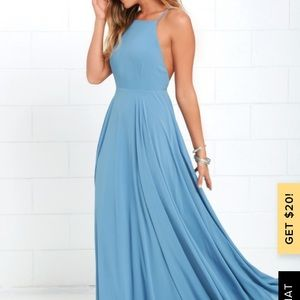 Lulu's Mythical Kind of Love Slate Blue maxi Dress